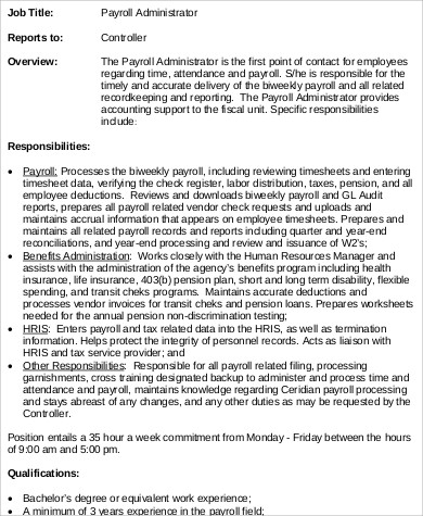 Payroll Administrator Job Description Sample   Examples In Word Pdf