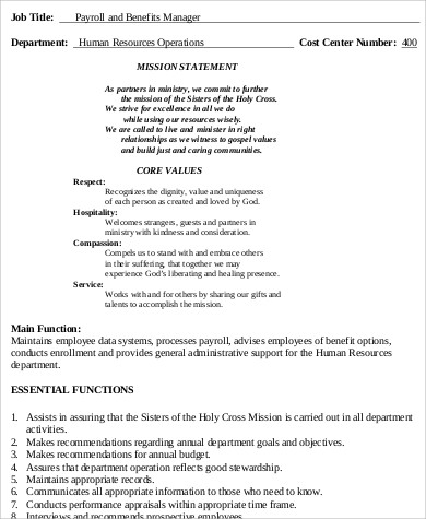 Payroll Manager Job Description Sample   Examples In Word Pdf