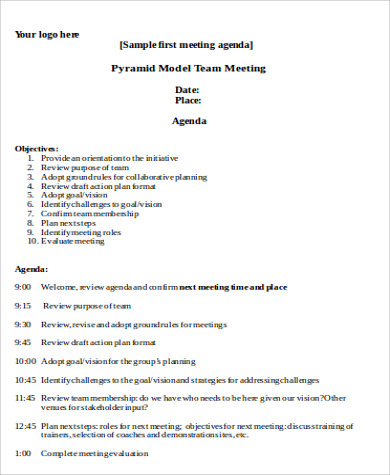 First Team Meeting Agenda Sample  Managers Meeting Agenda Template
