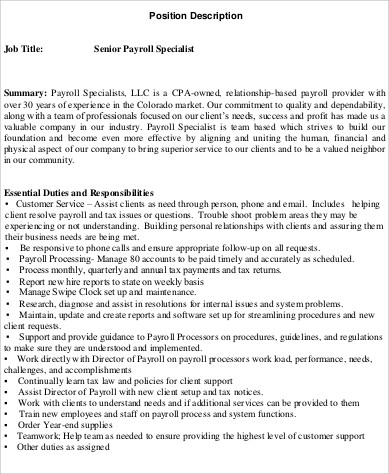 sample senior payroll specialist job description