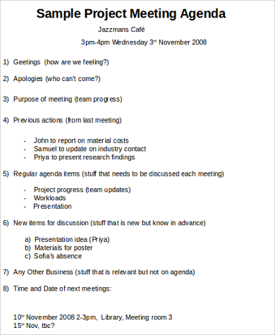agenda for team meeting