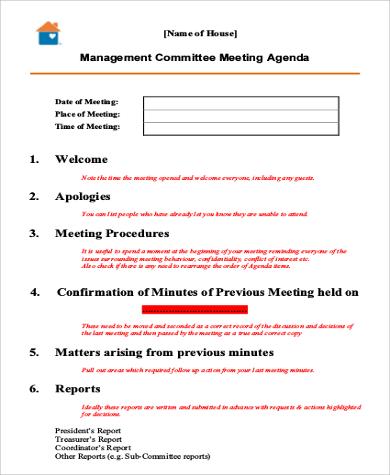 management team meeting agenda