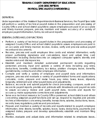 Payroll Specialist Job Description Sample   Examples In Word Pdf