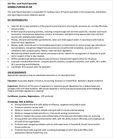 lead payroll specialist job description pdf