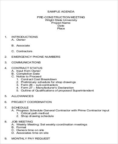Construction Team Meeting Agenda Pdf