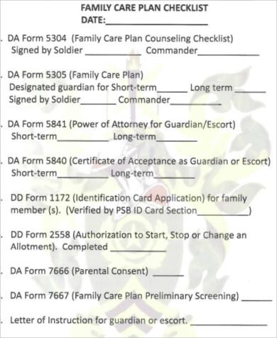 family care plan checklist