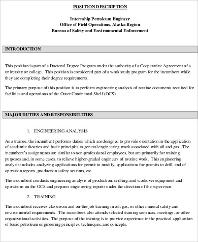 Petroleum Engineer Job Description Sample   Examples In Word Pdf