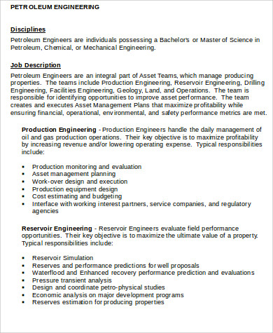 petroleum engineer job description sample 6 examples in word pdf - Production Engineering Job