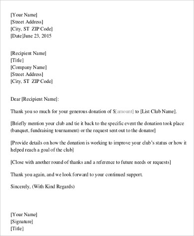 thank you fundraising letter
