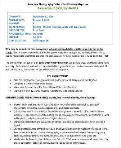 Photo Editor Job Description Sample   Examples In Word Pdf