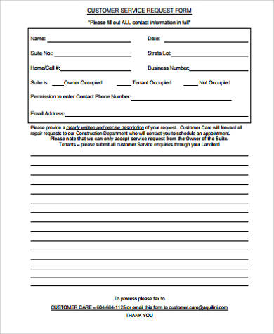 Free 11 Sample Customer Request Forms In Ms Word Pdf