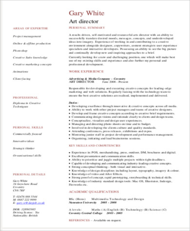 art director resume 9 sample resumes sample templates 14249 | Art Director Resume