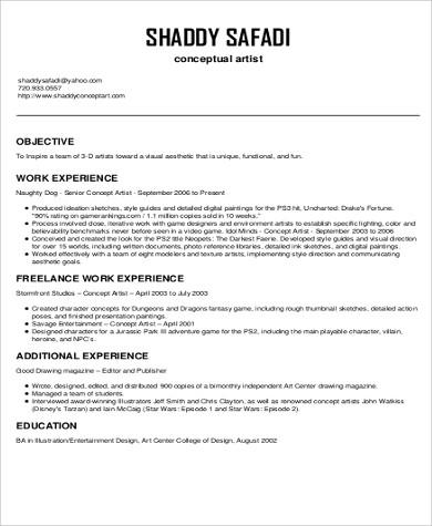 Marvelous Sample Art Resume   9+ Examples In Word, Pdf