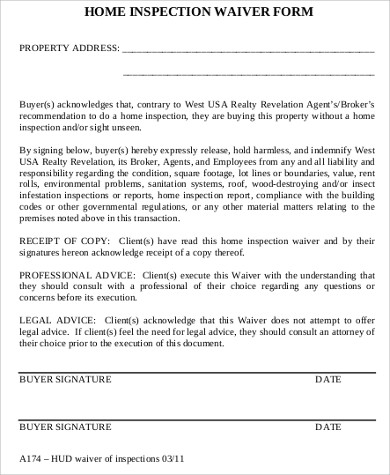 waiver of home inspection form