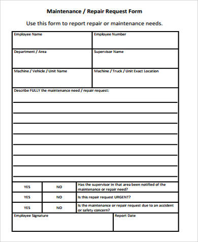 Sample Maintenance Request Form 11 Examples In Word Pdf