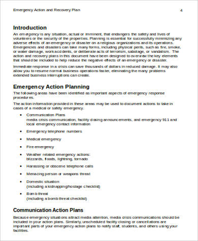 emergency action and recovery plan