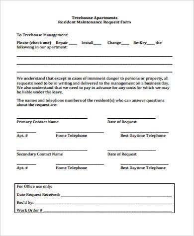 apartment maintenance request form