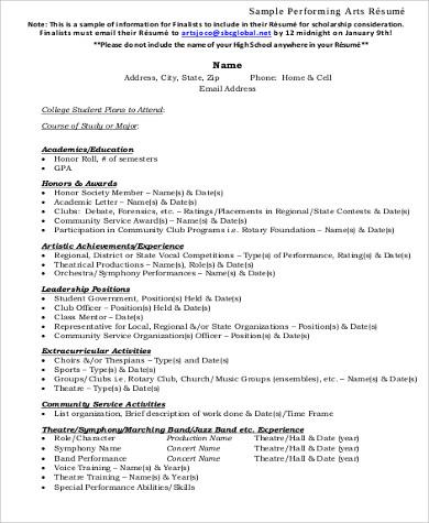 Arts performing resume