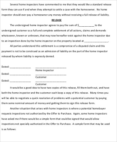 Home Inspection Release Form