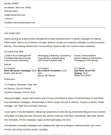 art director resume director resume director resume sample directeur artis 14249 | Midlevel Art Director Resume Format