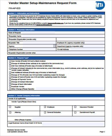 vendor maintenance request form