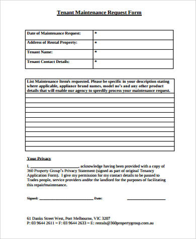 Sample Maintenance Request Form   Examples In Word Pdf