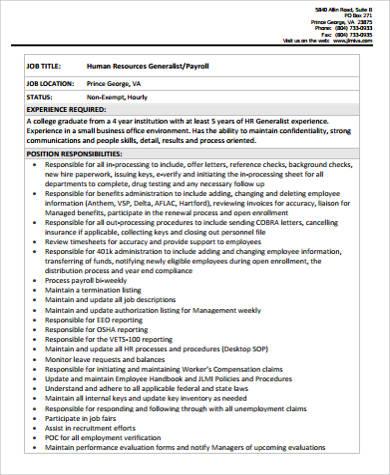 sample hr generalist payroll job description