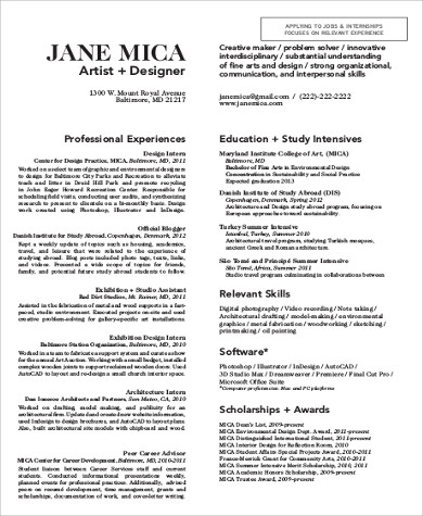 professional art resume