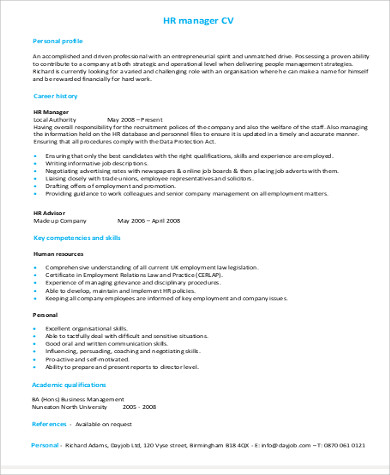 Sample Hr Manager Resume 9 Examples In Word Pdf
