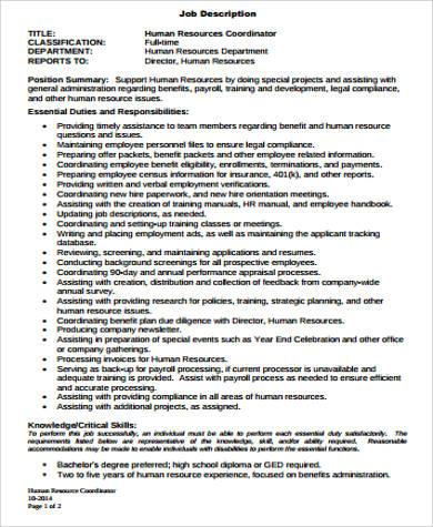 Hr Payroll Job Description Sample - 9+ Examples In Word, Pdf