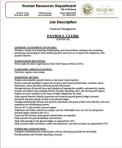 Church Clerk Sample Resume