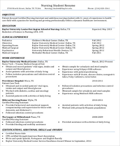 Sample Cna Resume Objective