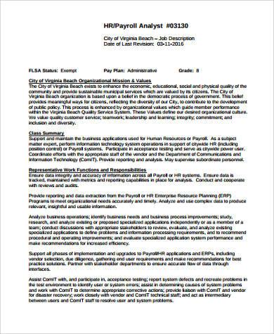 hr payroll analyst job description