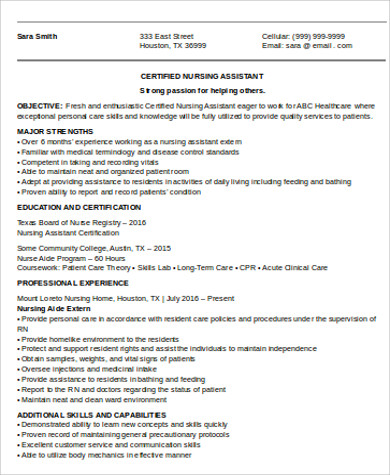 entry level cna resume objective