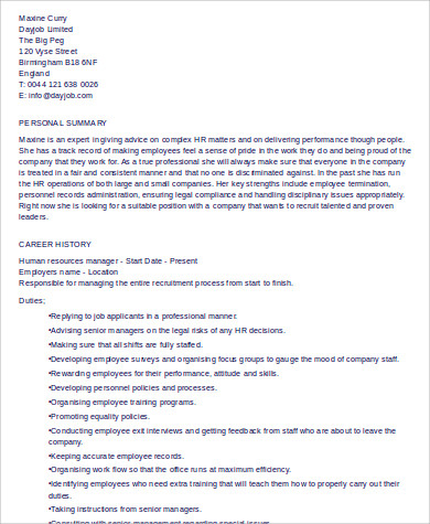senior hr manager resume format