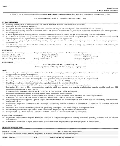 Sample Hr Manager Resume   Examples In Word Pdf