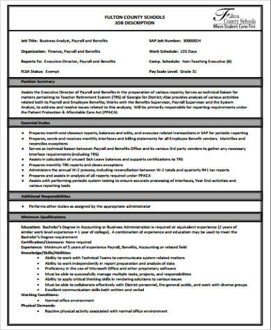 Payroll Analyst Job Description Sample   Examples In Word Pdf