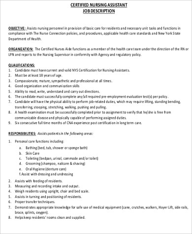 cna job description for resume - Job Duties Of Cna