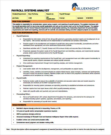 payroll system analyst job description example