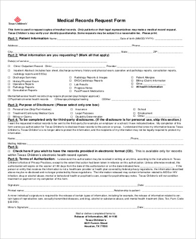 medical records authorization request form