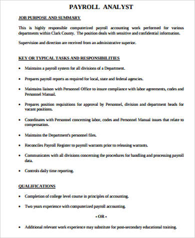 payroll analyst job description sample 8 examples in word pdf