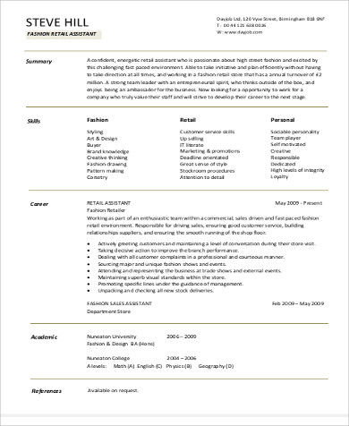 resume objective for fashion retail assistant