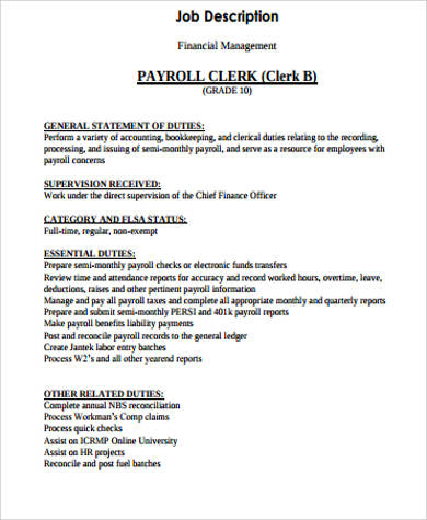 payroll clerk job description example. Resume Example. Resume CV Cover Letter