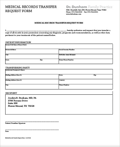 Sample Medical Records Request Form   Examples In Word Pdf