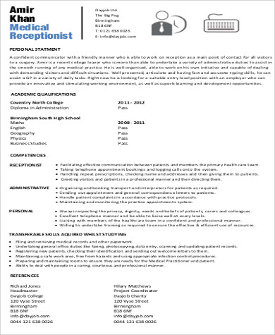 Receptionist Resume Objective   Examples In Word Pdf