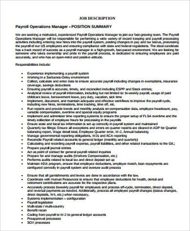 Payroll Job Description Sample - 11+ Examples In Word, Pdf