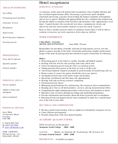 Hotel Receptionist Resume Objective In PDF
