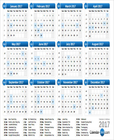 Printable Calendar Pdf Sample   Examples In Word Pdf