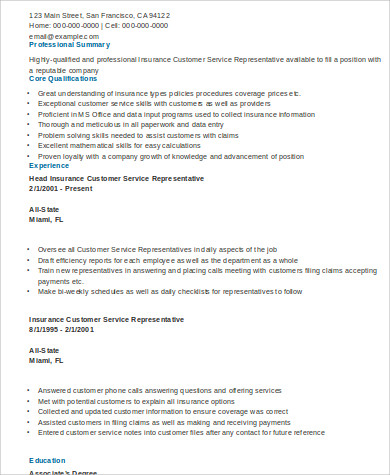 Customer Service Representative Resume Summary Of Qualifications JFC CZ As  Customer Service Agent Resume