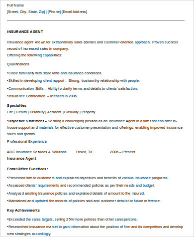 Sample Insurance Agent Resume   Examples In Word Pdf